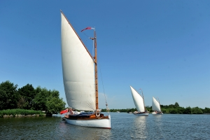 Wherry yachts (L-R) White Moth, Olive and Norada on Ranworth Broad. Photo: Courtesy of the Broads Authority